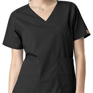 Carhartt Women's Black Mock-Wrap Scrub Top